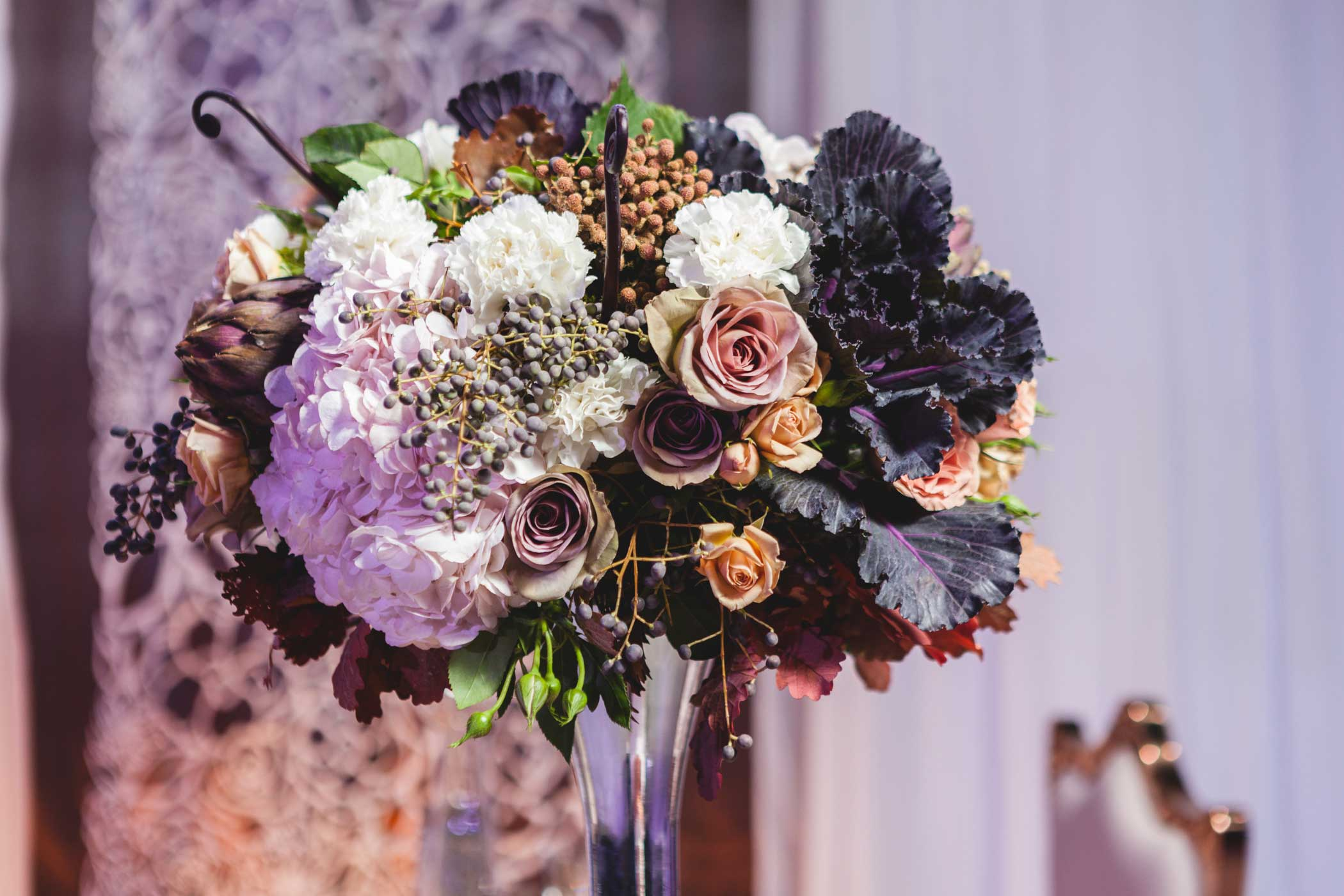 Unique dark colored flowers for wedding reception vintage style wedding