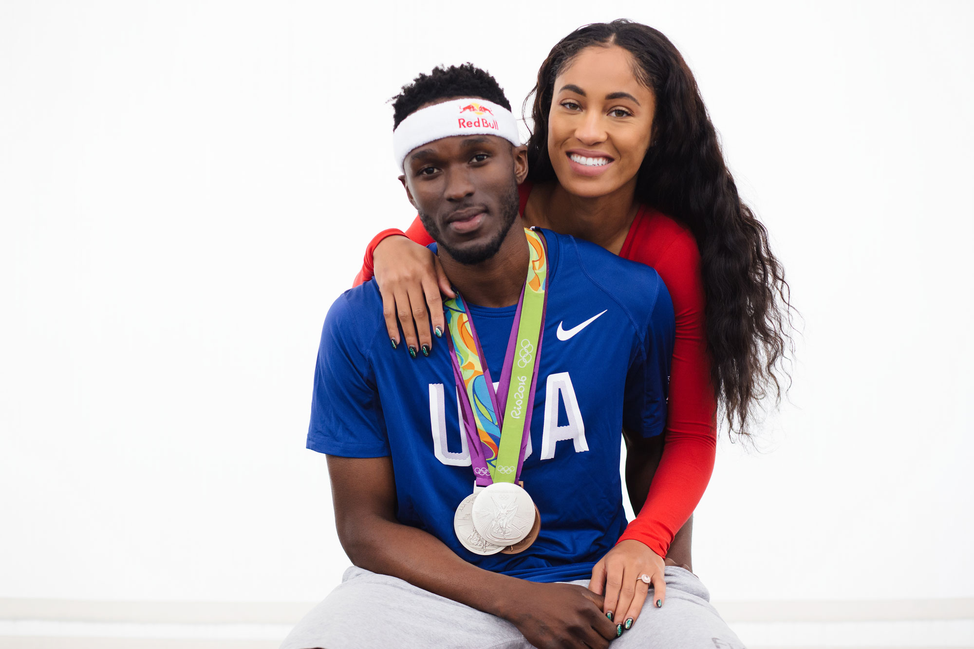 Queen Harrison and Will Claye Olympic athletes with Rio Olympic Games medals