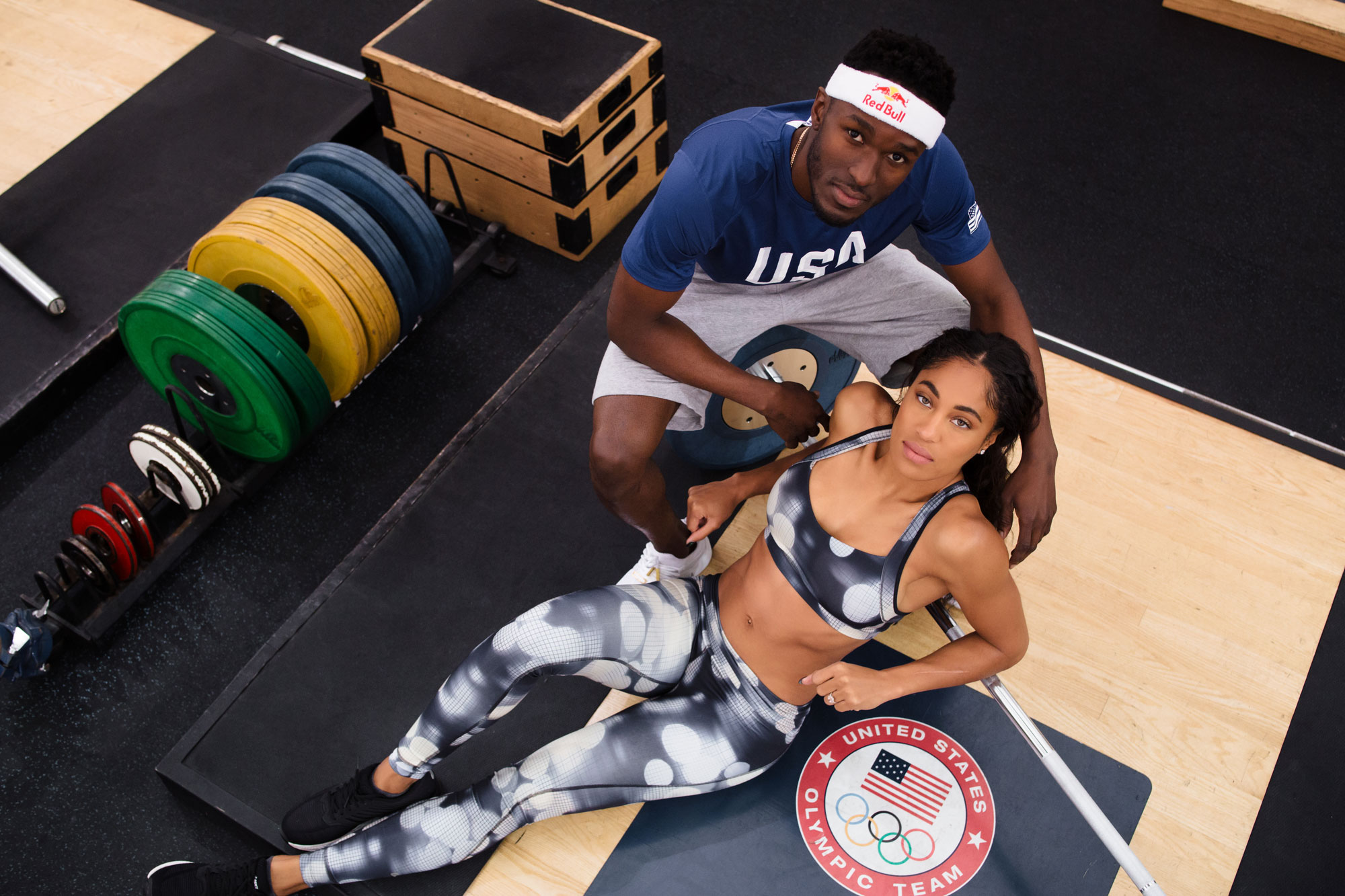 Queen Harrison and Will Claye Olympic athletes engagement shoot at Olympic Training Center