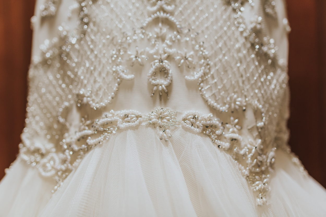 Close Up Shot Of Beaded And Tulle Skirt On Watters Mermaid Bridal Gown