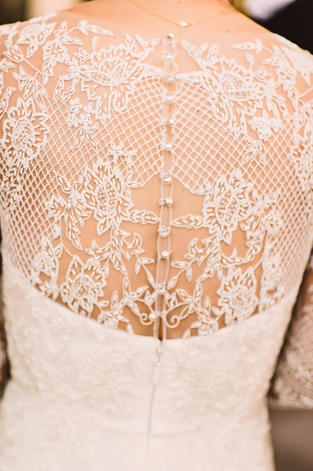 Lace Beaded Details Of Monique Lhuillier Bridal Gown