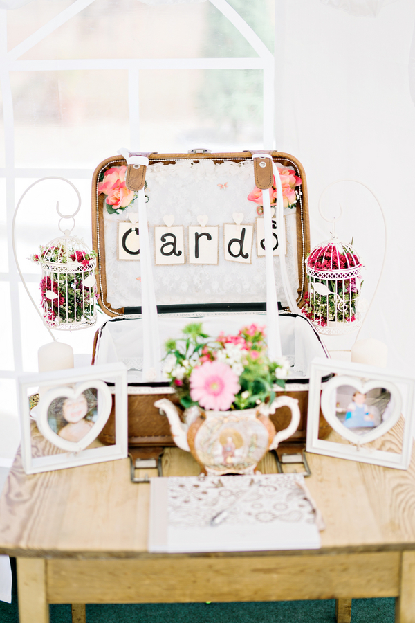Lace details on luggage card box for shabby chic wedding