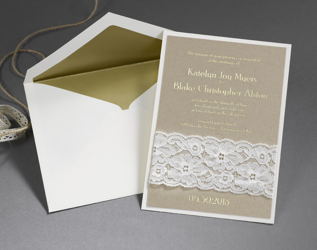 Lace wedding invitation by Carlson Craft