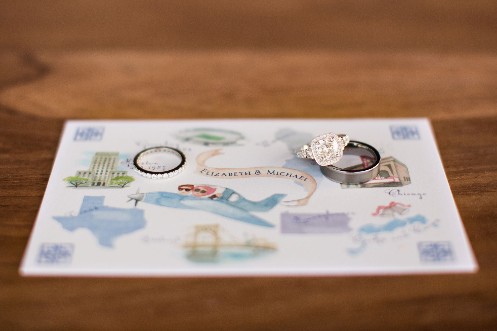 Hand painted watercolor map with wedding rings on top destination wedding ideas