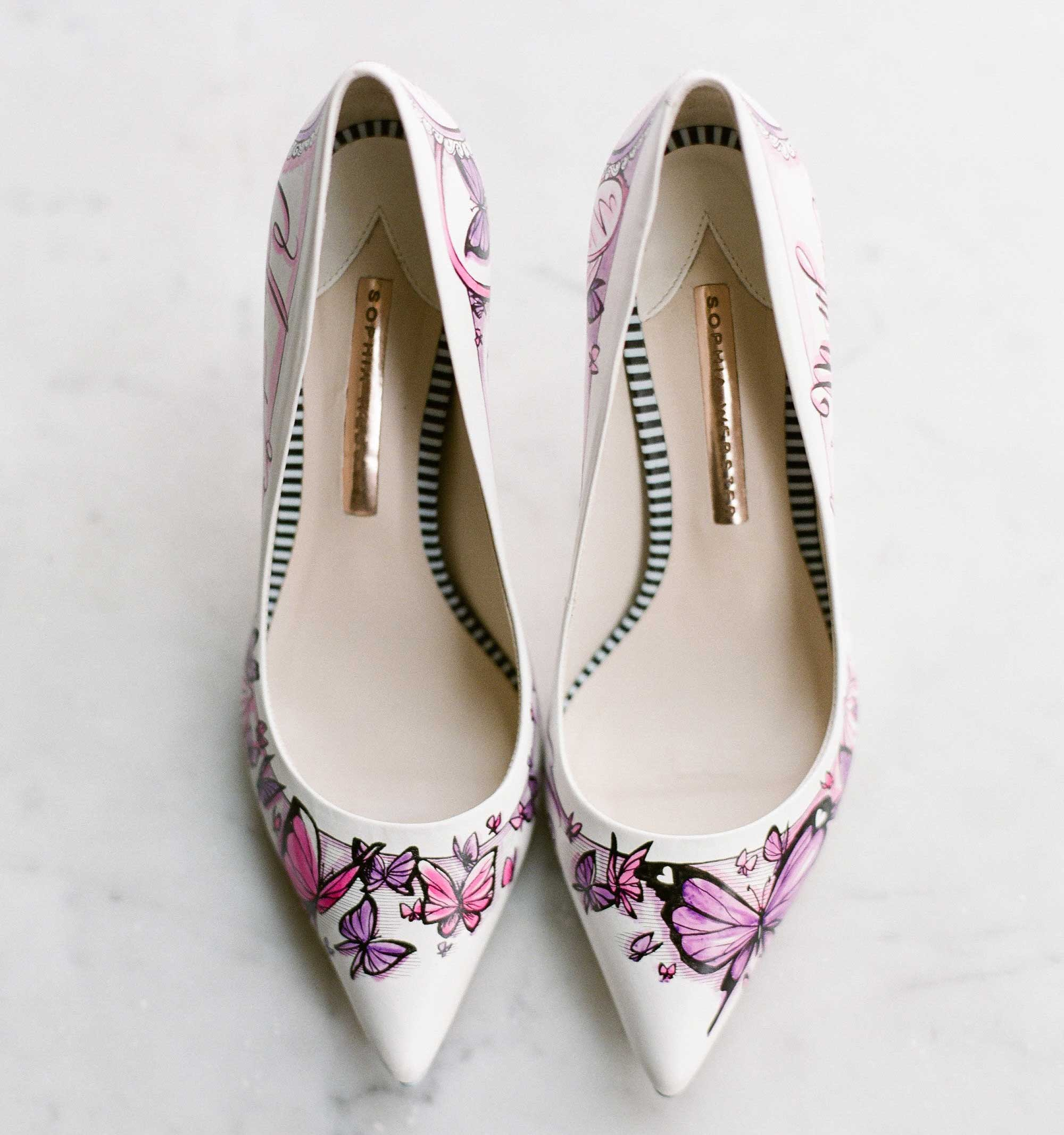 Pink and purple hand painted butterfly design on wedding shoes pumps