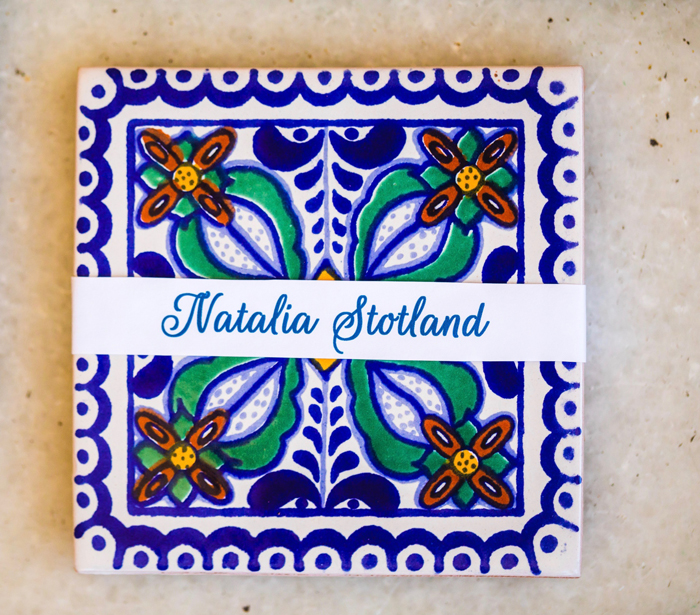 Hand painted tile place card escort card for wedding