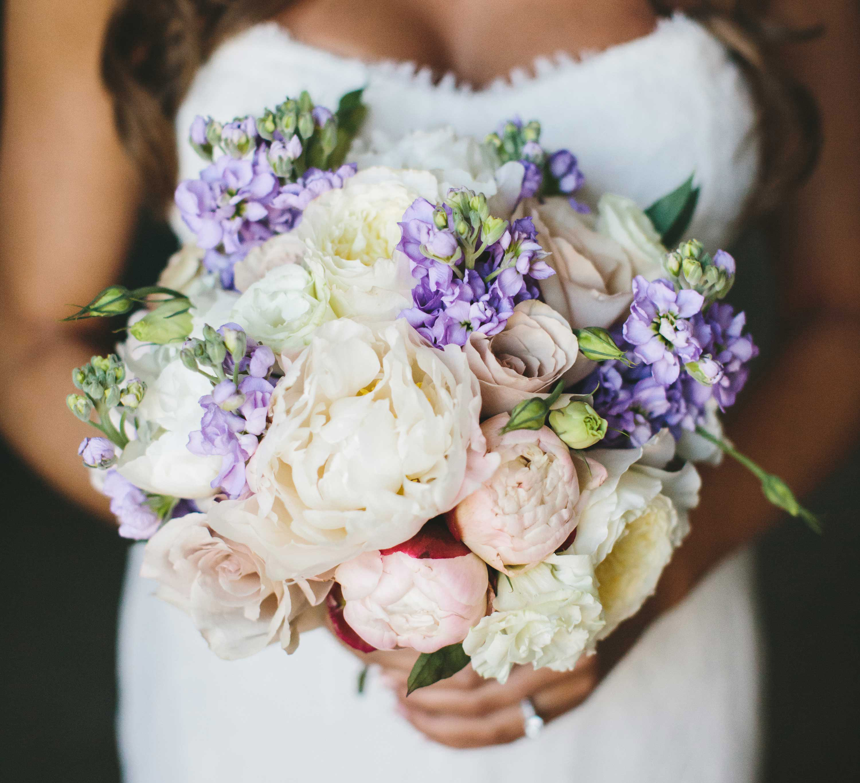 bridal bouquet with lilac flowers, blush peonies, mauve roses