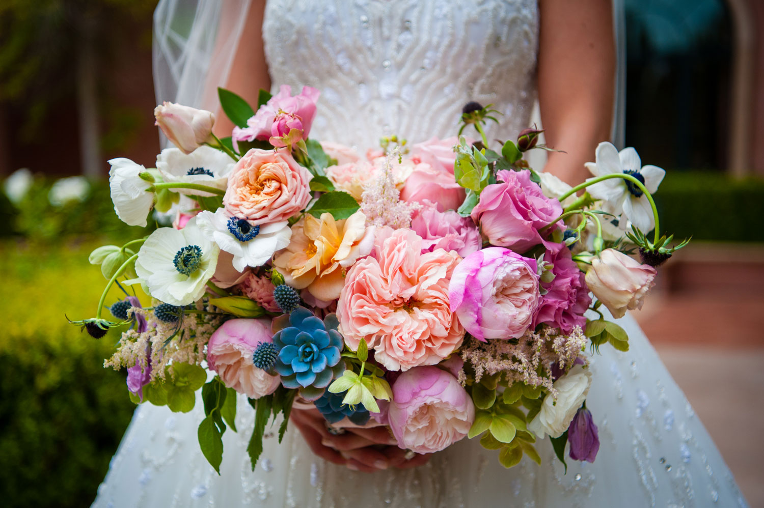 large bridal bouquet with pink peonies, peach garden roses, blue succulent, anemones,