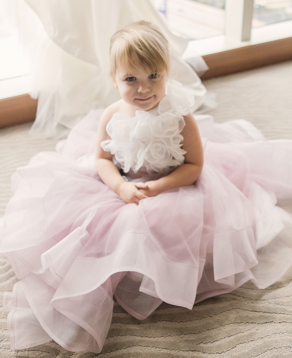 pastel wedding inspo, flower girl in full blush tulle skirt