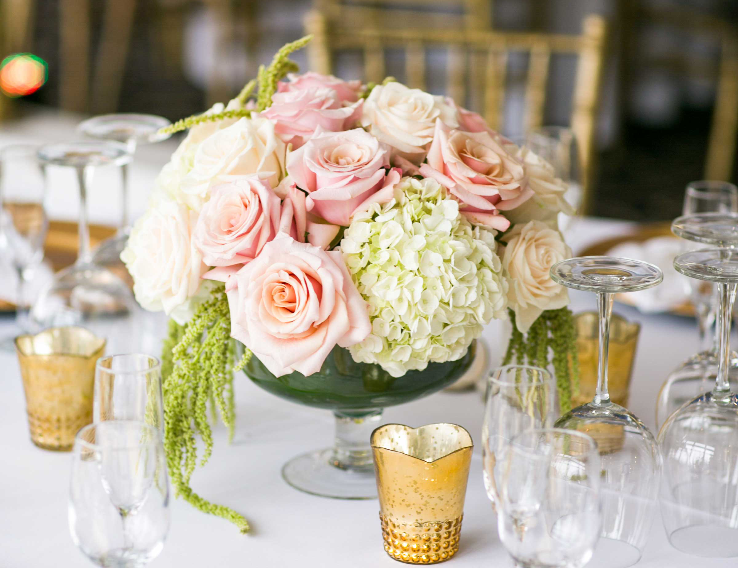 pastel wedding inspiration, blush roses green amaranths centerpieces