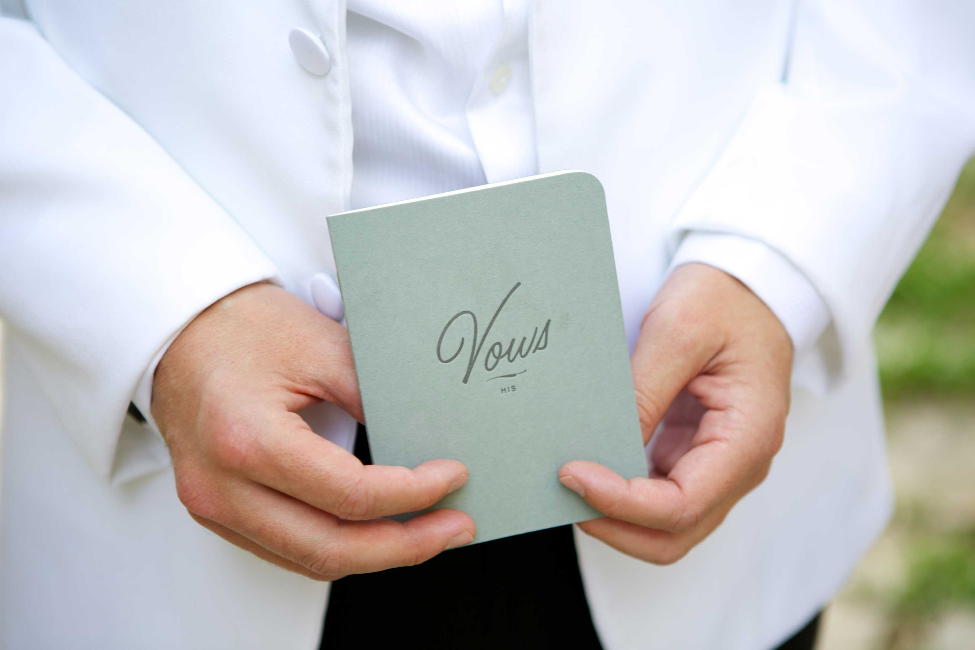 pastel wedding inspiration, soft green vow booklet