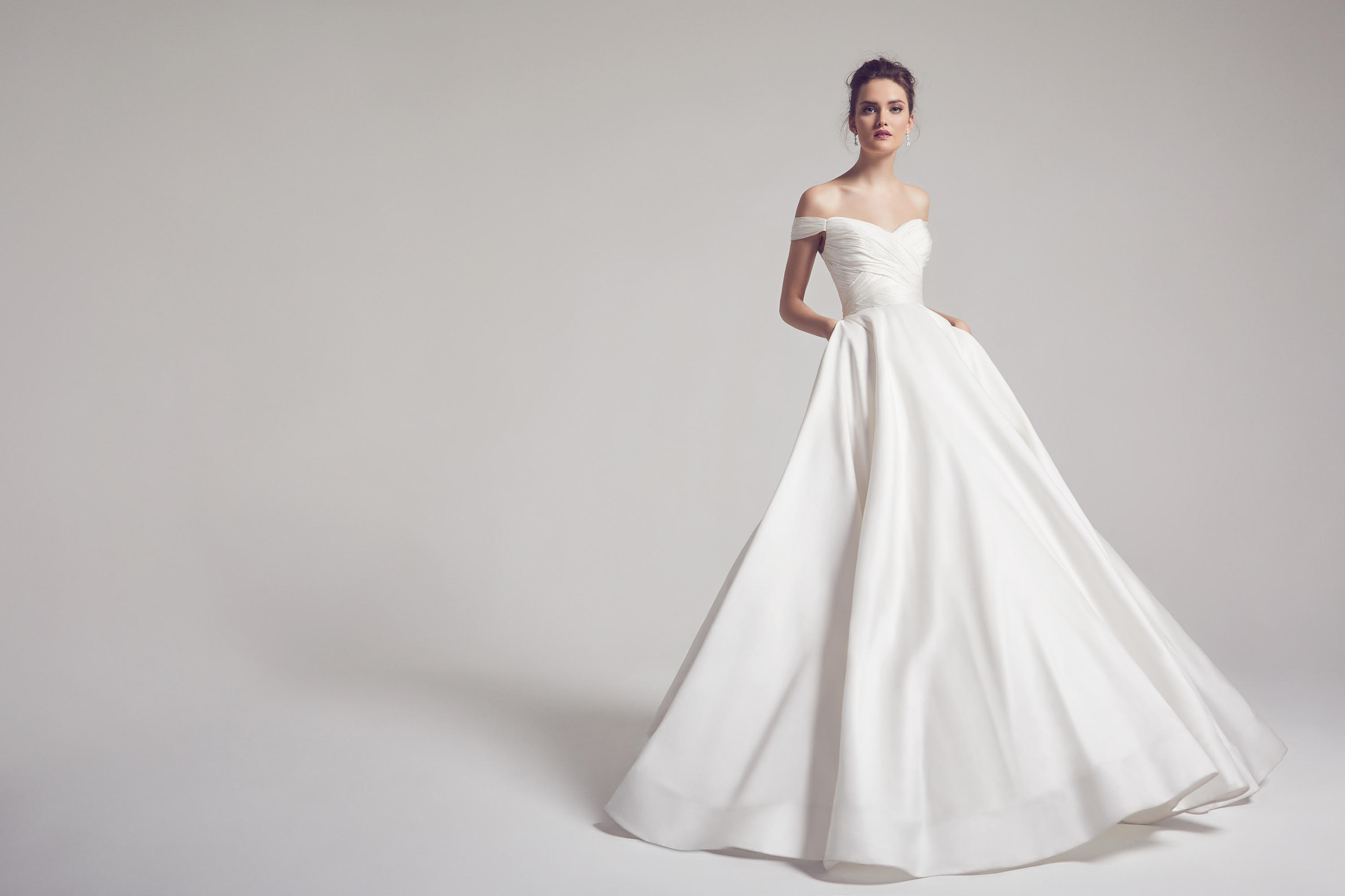 anne barge berkeley wedding dress gown, kalika silk, chiffon bodice, off-the-shoulder neckline