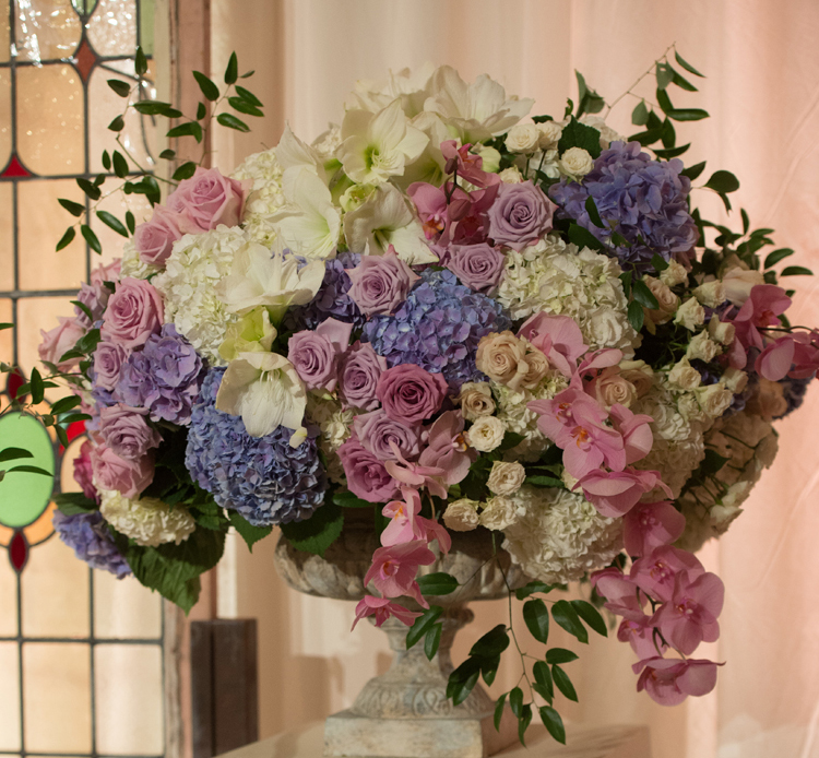 pastel wedding inspiration, purple and blue hydrangeas and roses, ceremony flower arrangement