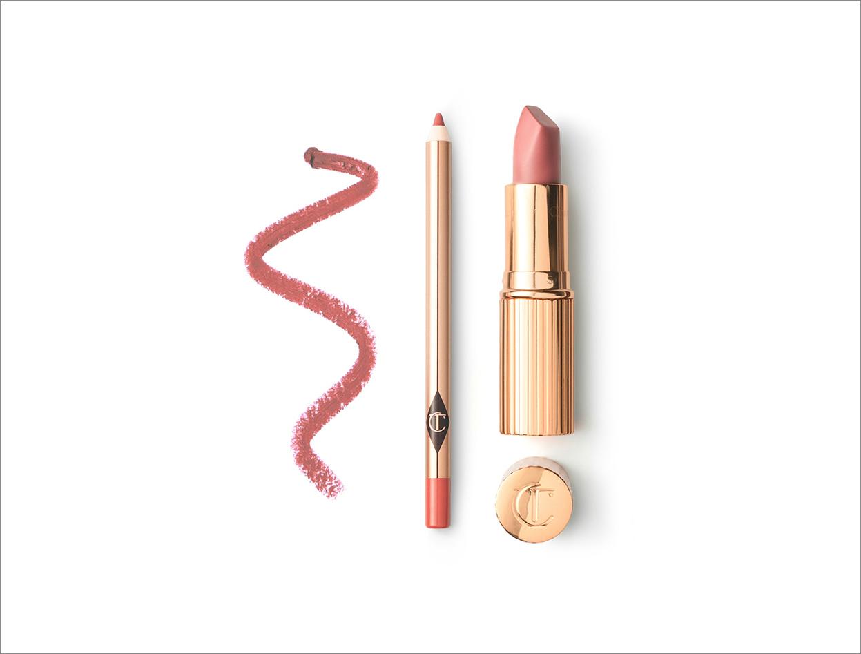 Charlotte Tilbury Luscious Lip Slick pillow talk lip kit in nude shade