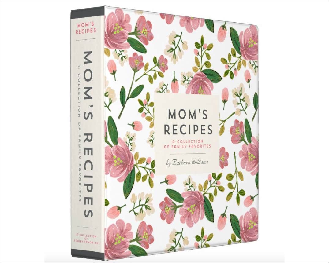 Mom's Recipe binder in blush bouquet print by Origami Prints from Zazzle