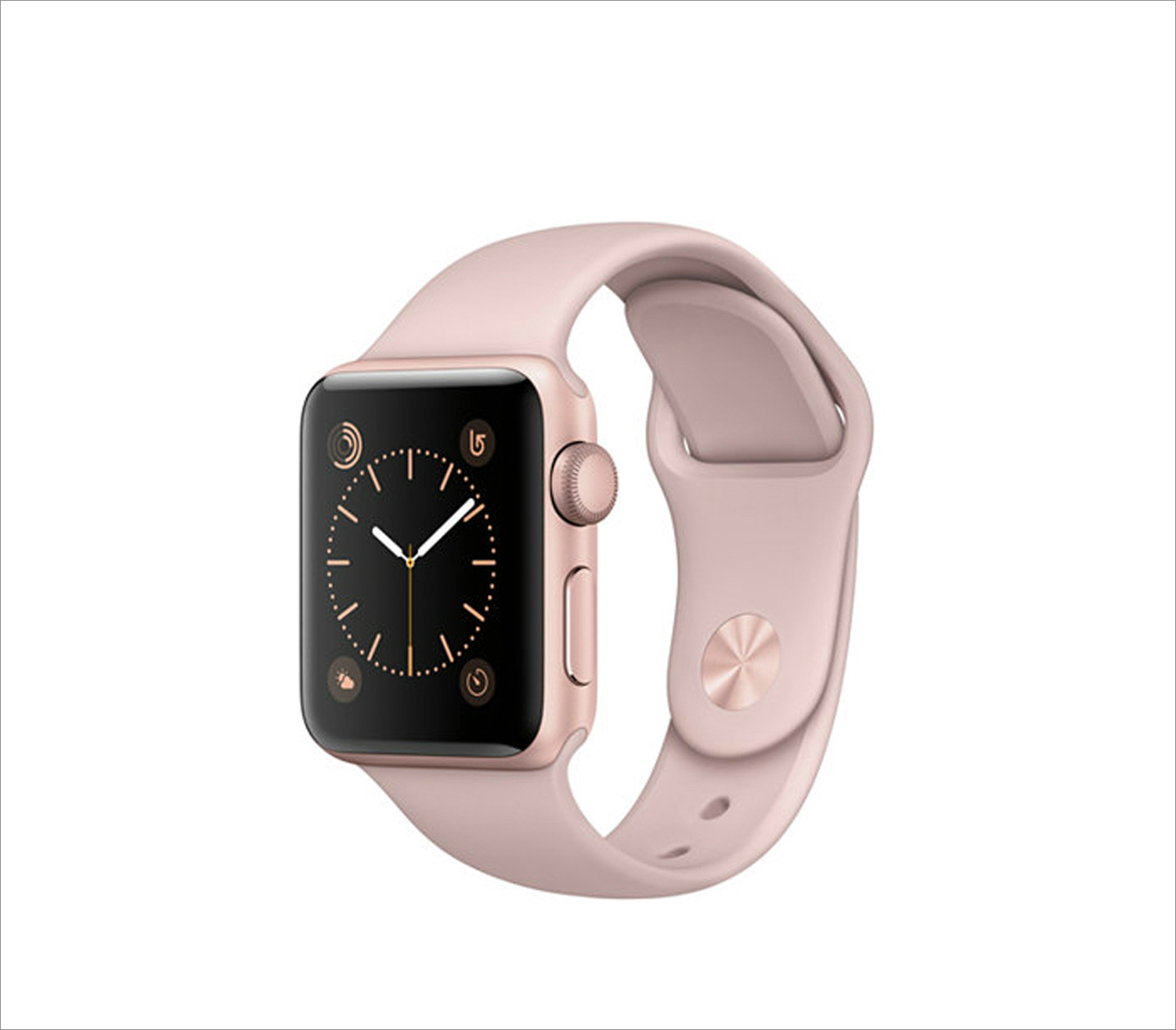 Rose gold tone aluminum case pink sand sport band apple watch series 2