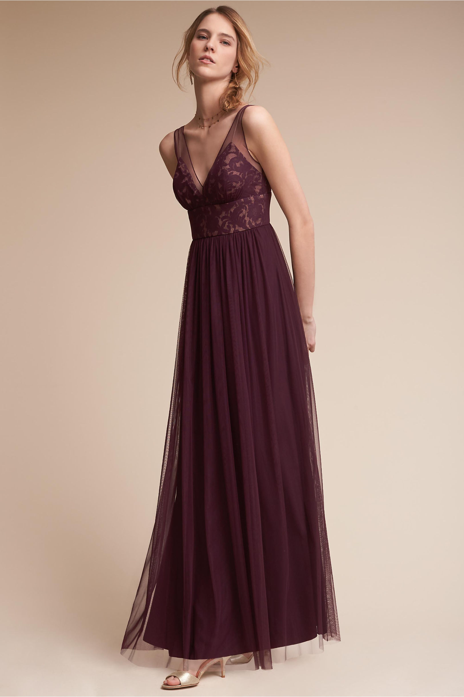 bhldn brit bridesmaid dress in deep amethyst