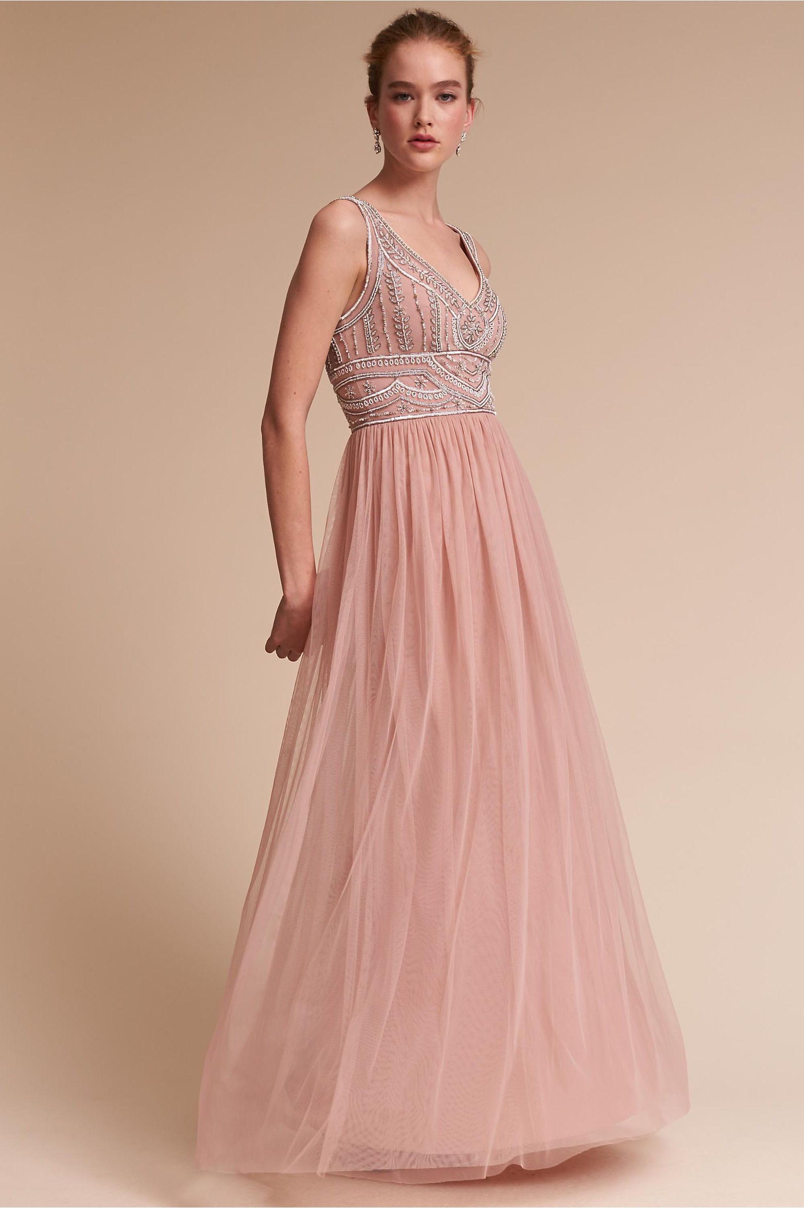 bhldn sterling bridesmaid dress in fog