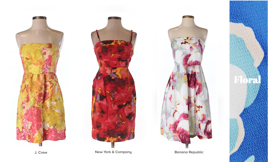 thredup mismatched 'maid, mismatched floral bridesmaid dresses secondhand