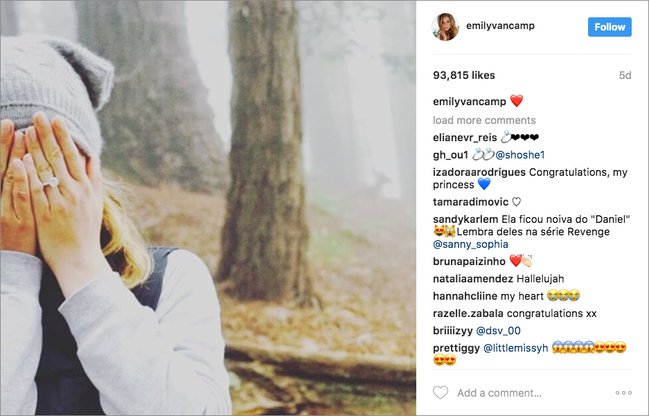Emily VanCamp is engaged to Josh Bowman Instagram photo engagement ring