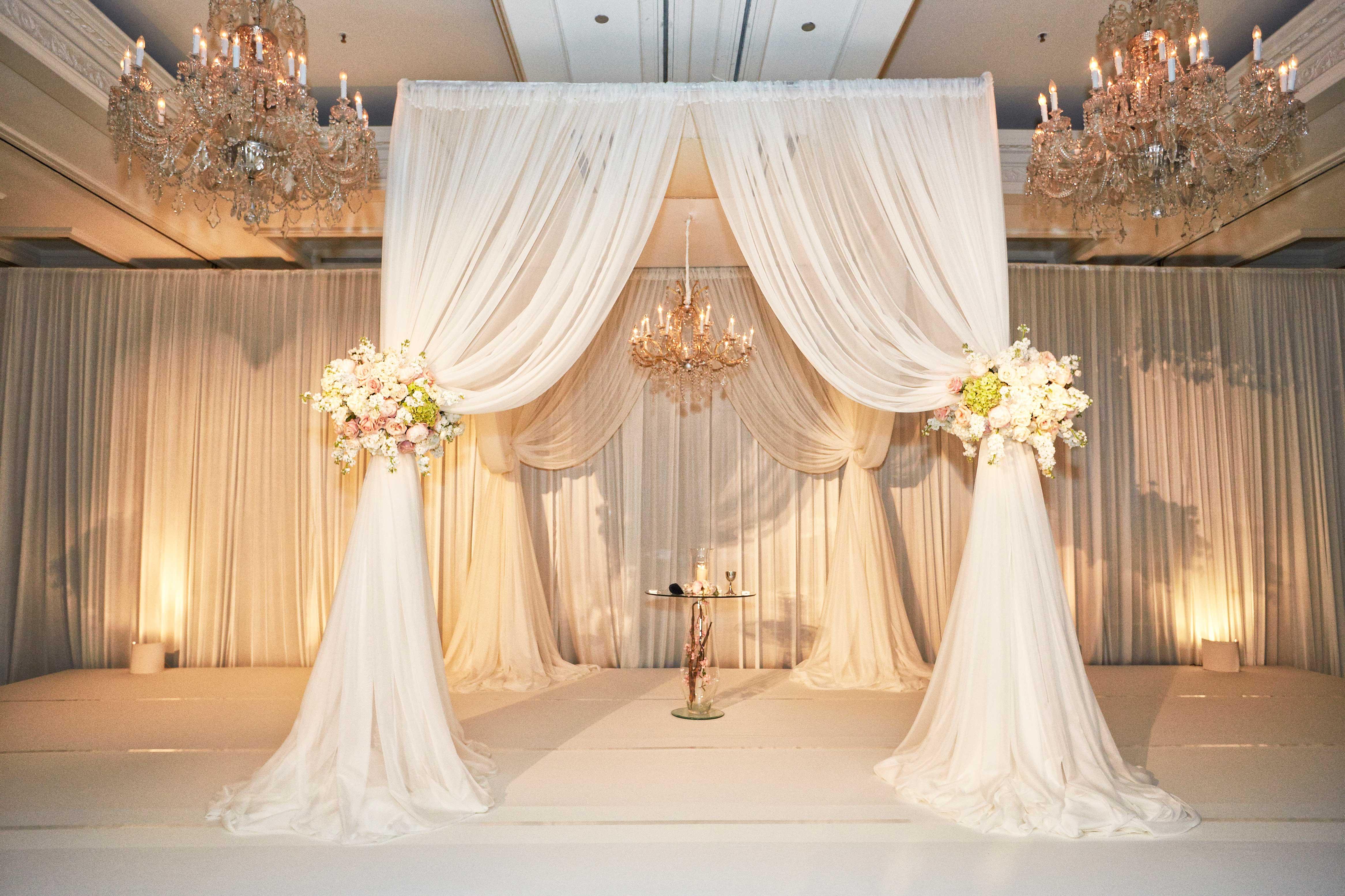 wedding chuppah altar with chandeliers