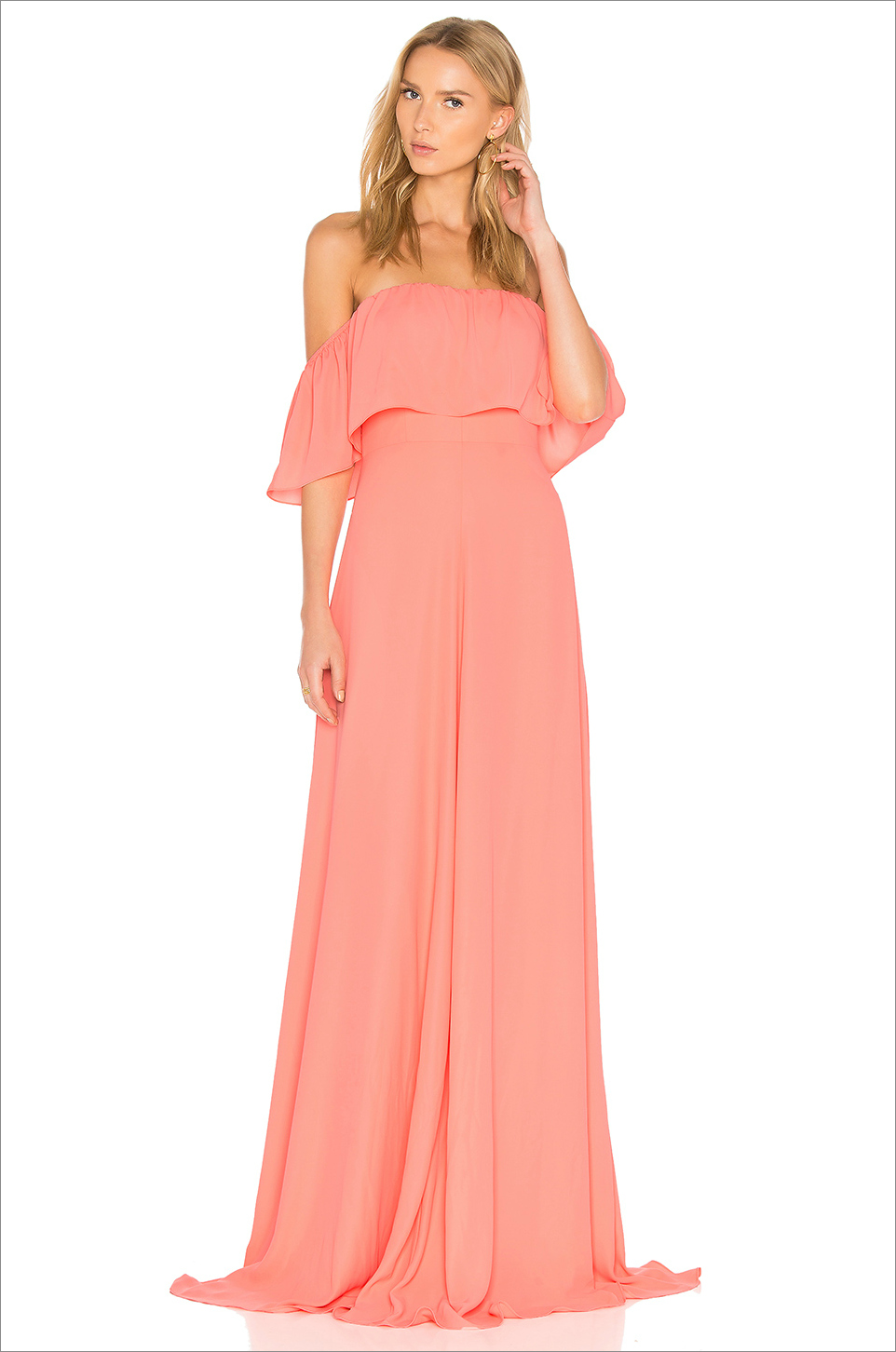 delilah maxi amanda uprichard amanda uprichard coral wedding guest dress ideas off the shoulder
