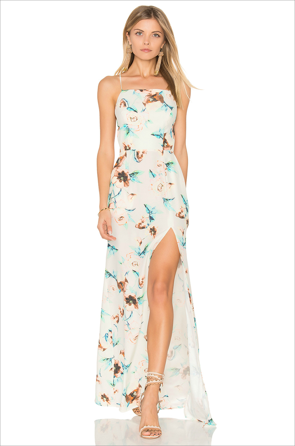 Stone Cold Fox Moss gown wedding guest dress ideas slit flower print