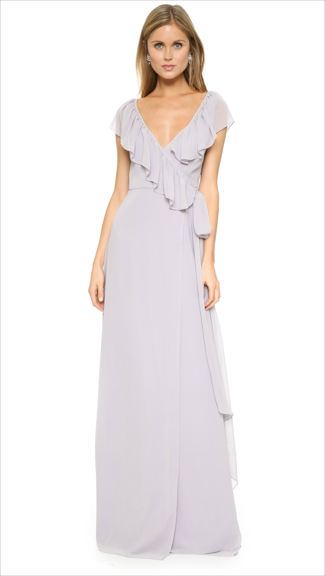 Joanna August + Lolo V Neck Ruffle Wrap Dress purple wedding guest dress ideas