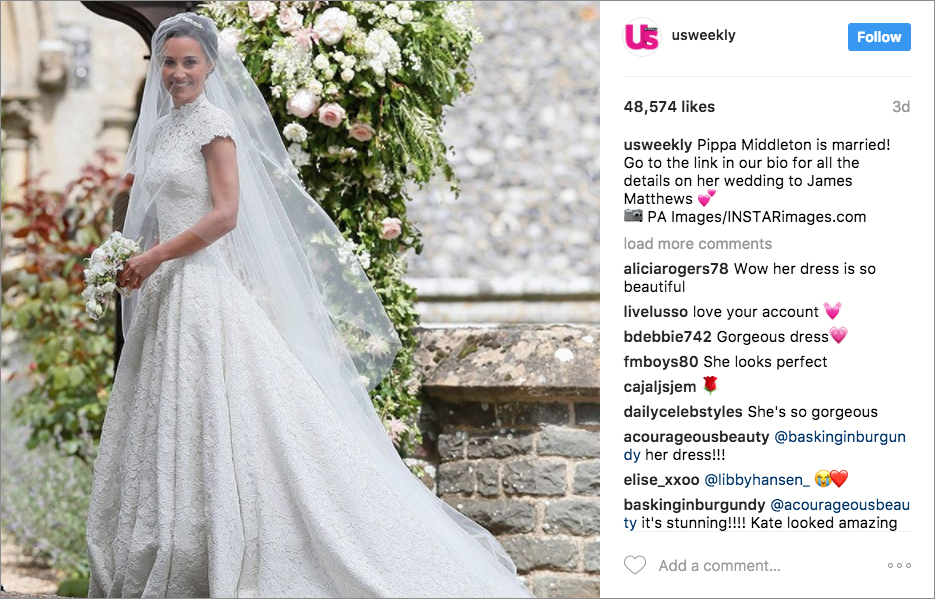 Pippa Middleton wedding dress from Us Weekly Instagram