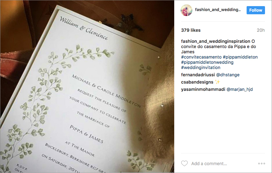 Pippa Middleton wedding invitation