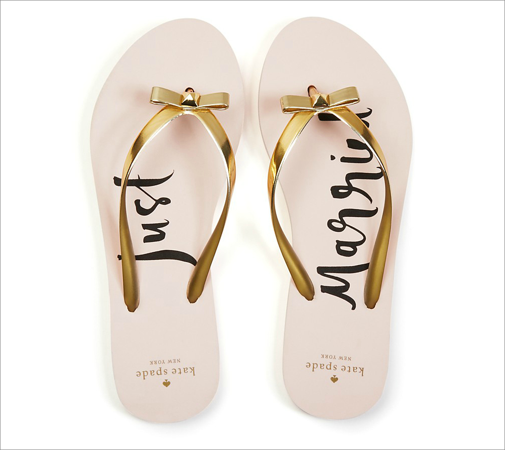 """""""Nadine Just Married"""" flip-flops in pink with gold straps, $58 by Kate Spade New York; bloomingdales.com"""