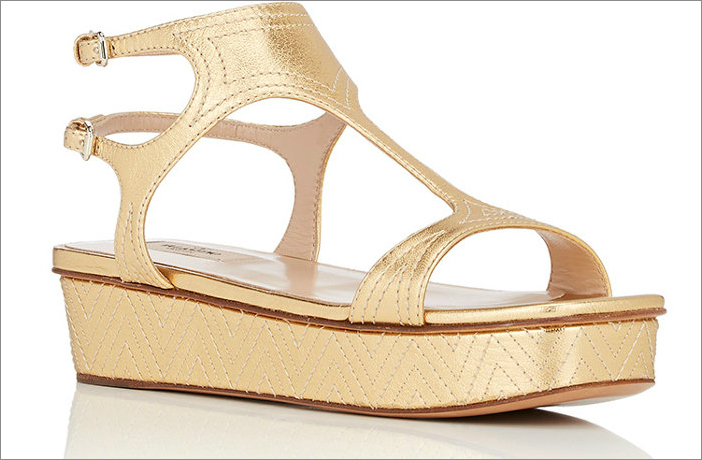 Metallic leather double-strap platform sandals, $995 by Valentino; barneys.com