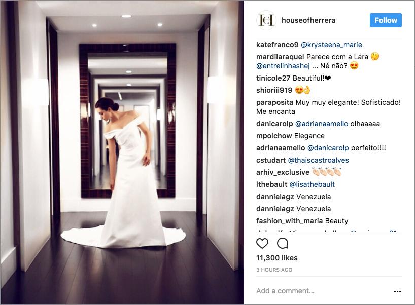 Emmy Rossum in Carolina Herrera wedding dress