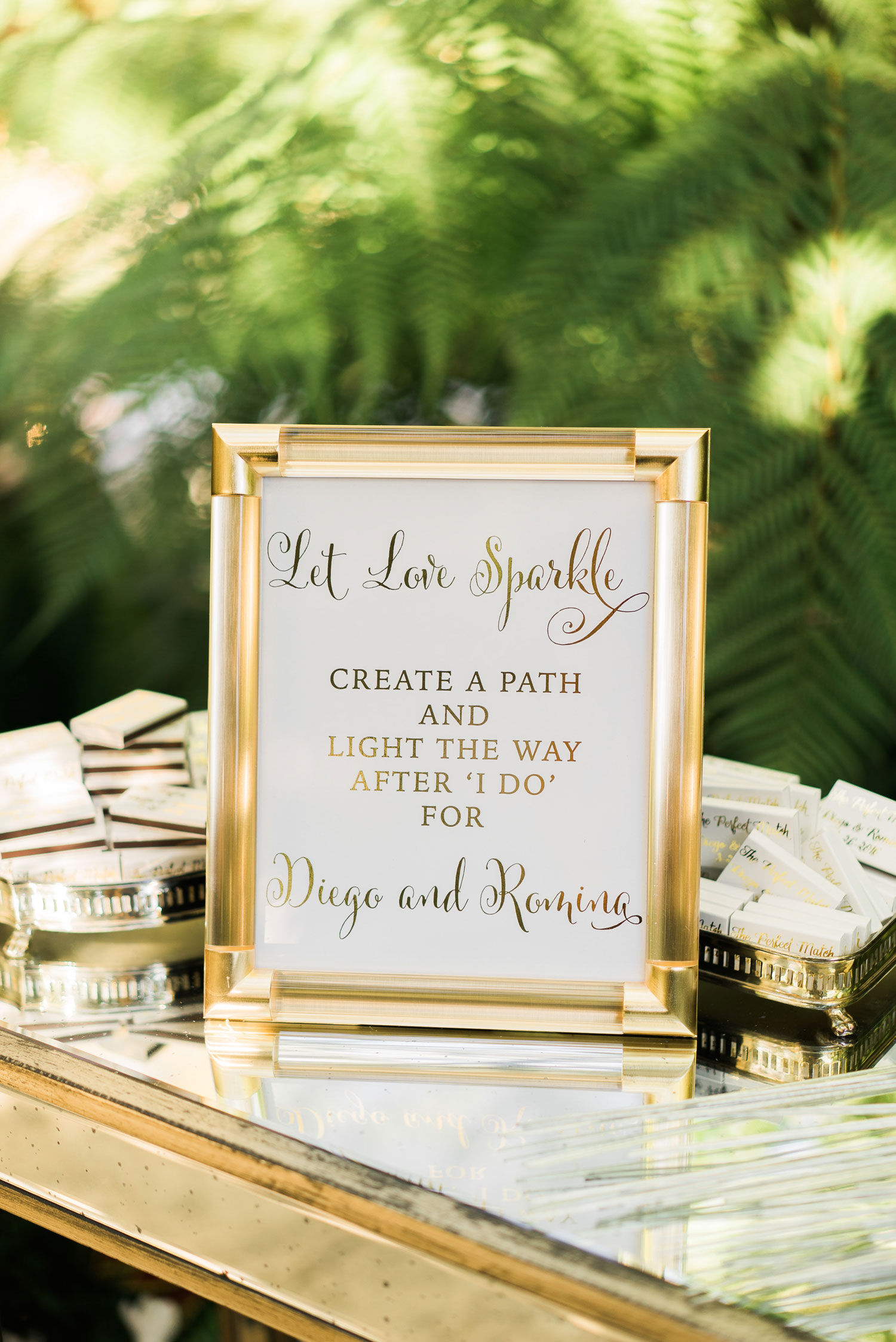 sign for sparkler exit at wedding