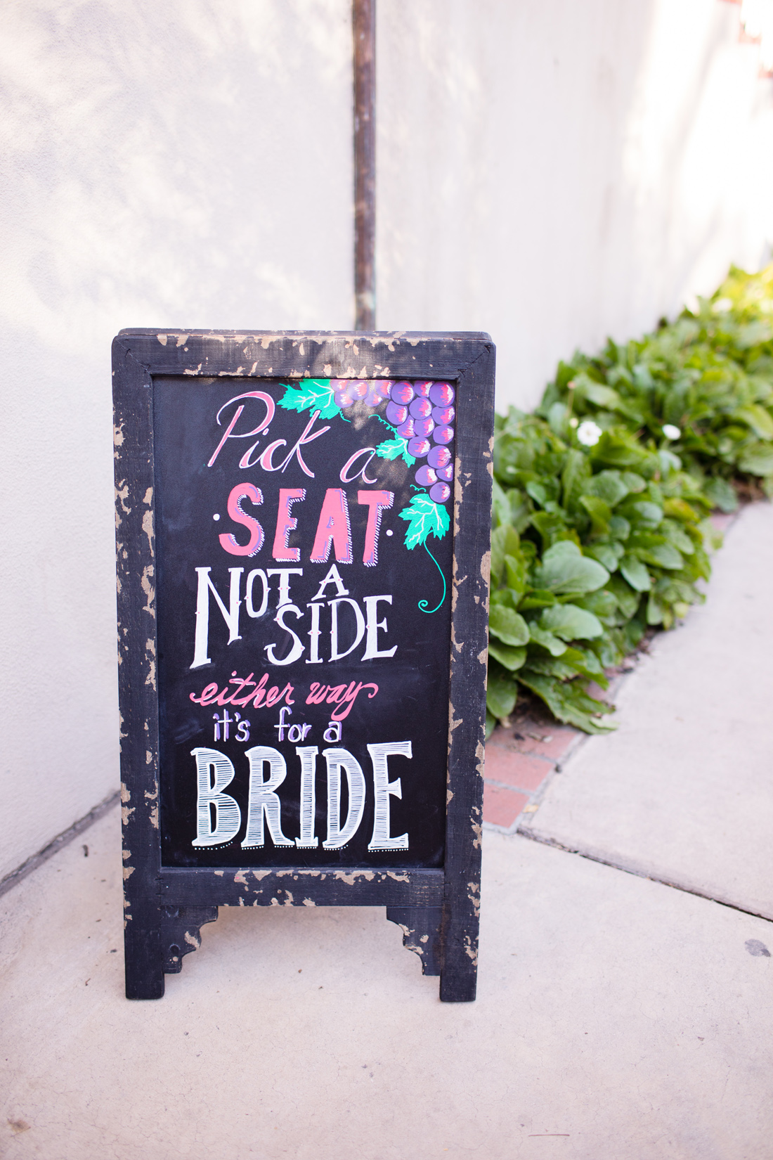 lesbian wedding ceremony sign, pick a seat not a side either way it's for a bride