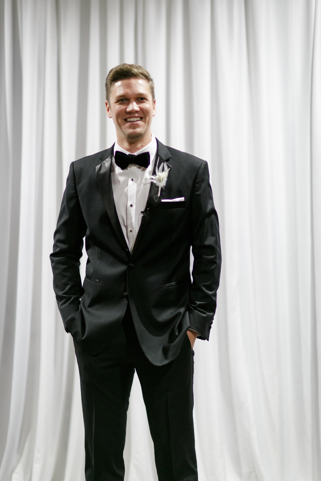 groom in classic tuxedo for traditional wedding