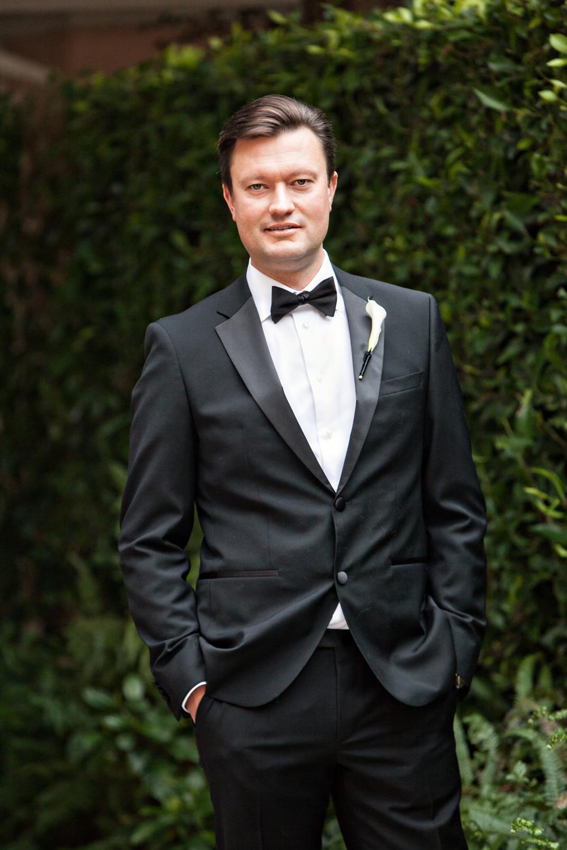 groom in hugo boss tuxedo classic wedding