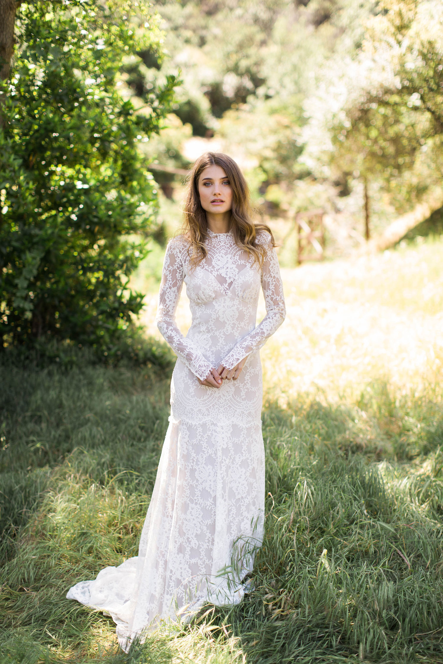 Claire Pettibone Romantique stylized shoot in Malibu California Dreamin' collection Beverly wedding dress