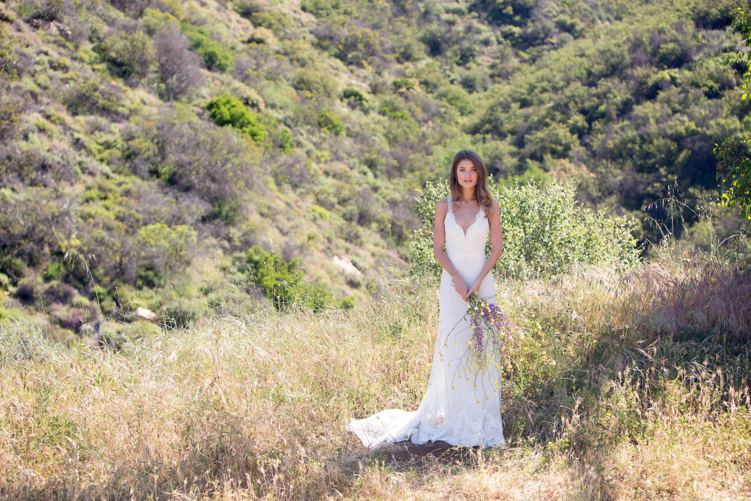 Claire Pettibone Romantique stylized shoot in Malibu California Dreamin' collection Carmel wedding dress