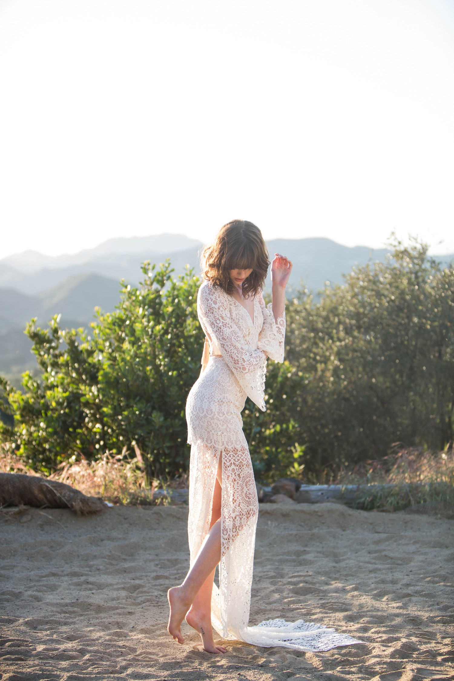 Claire Pettibone Romantique stylized shoot in Malibu California Dreamin' collection Coachella wedding dress