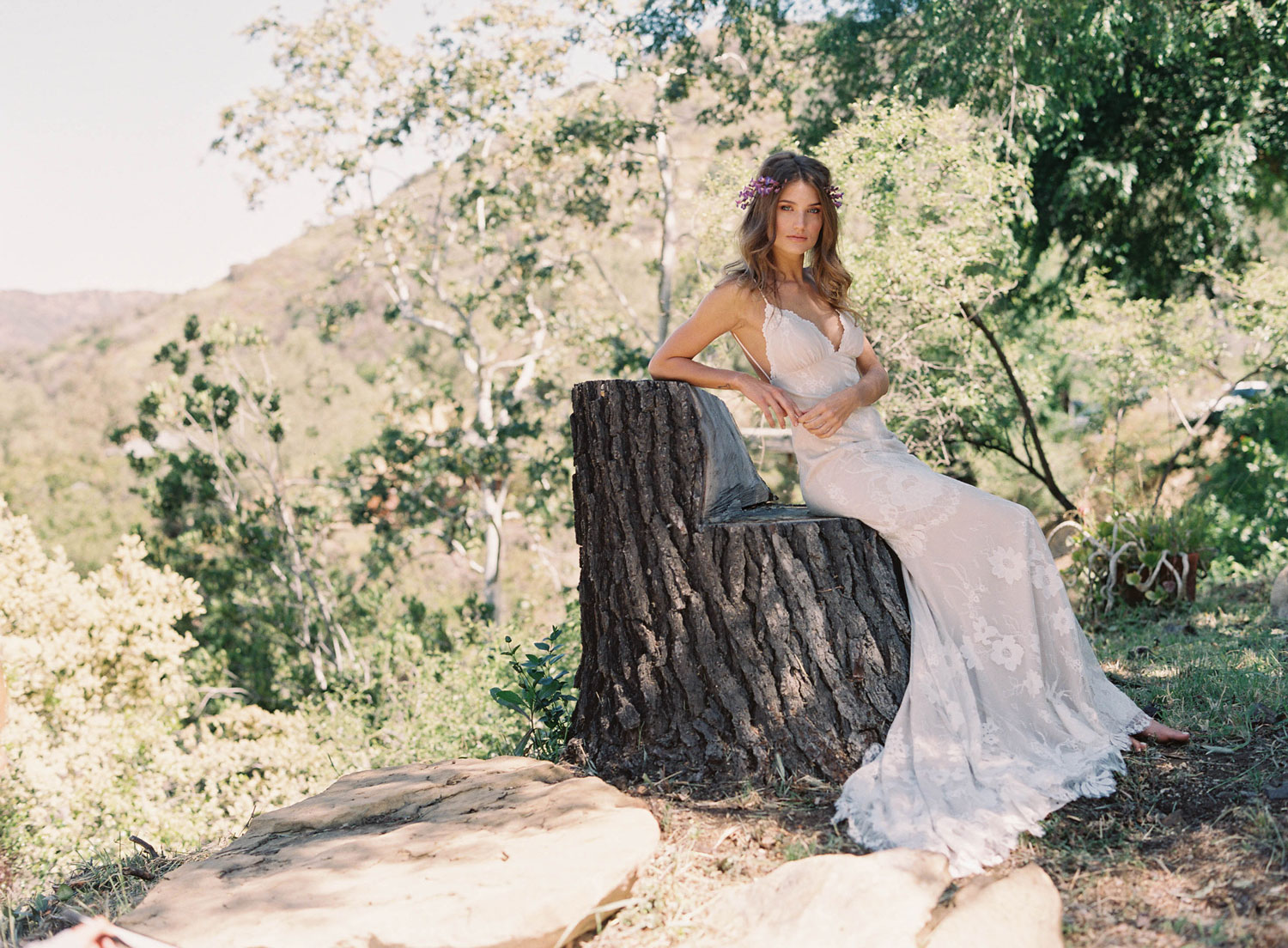 Claire Pettibone Romantique stylized shoot in Malibu California Dreamin' collection Del Rey wedding dress