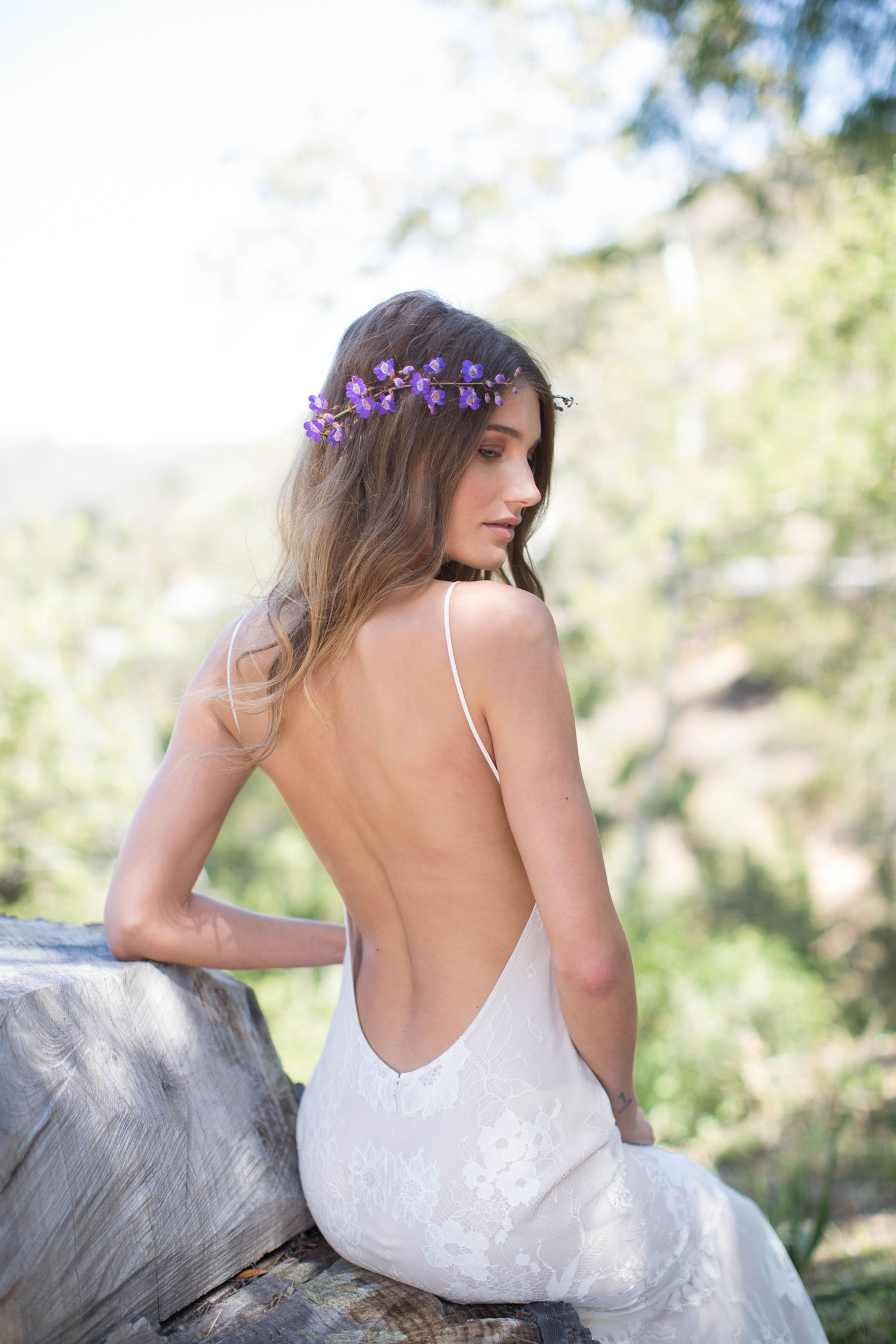 Claire Pettibone Romantique stylized shoot in Malibu California Dreamin' collection Del Rey wedding dress low back