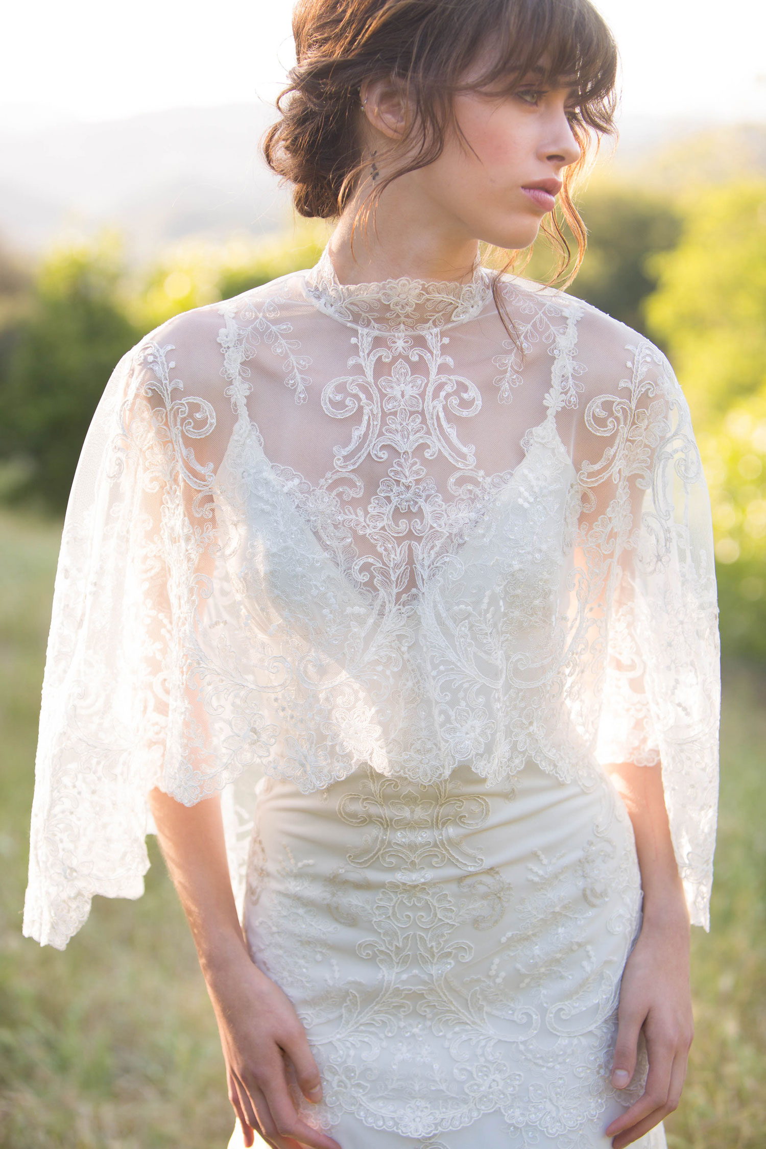 Claire Pettibone Romantique stylized shoot in Malibu California Dreamin' collection Santa Monica wedding dress close up