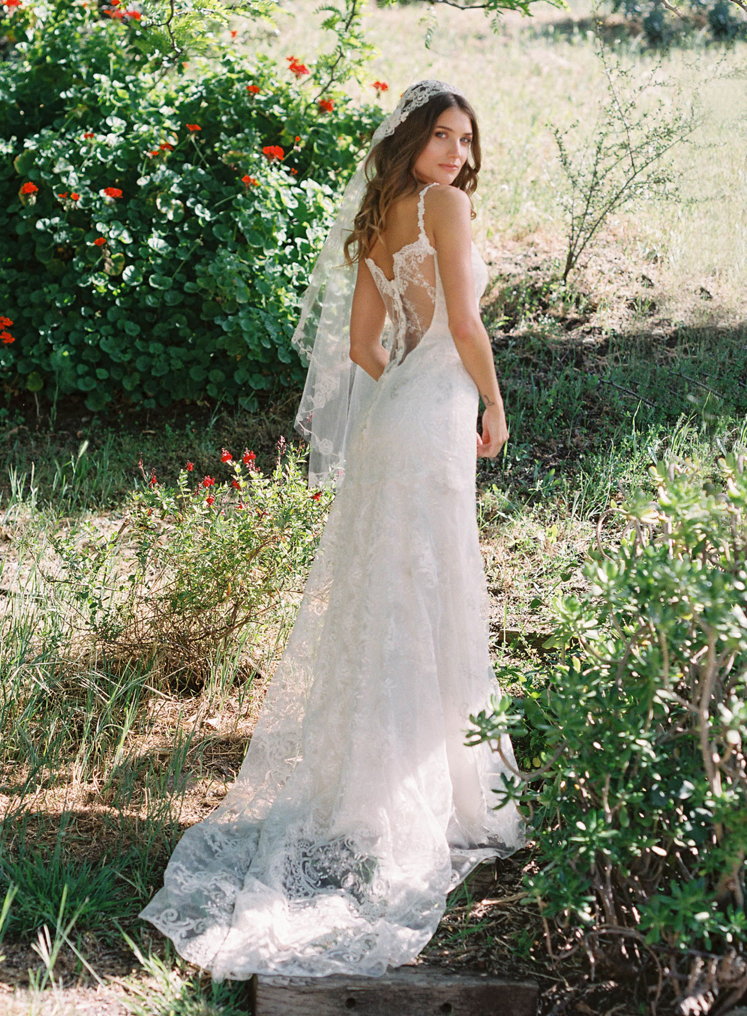 Claire Pettibone Romantique stylized shoot in Malibu California Dreamin' collection Santa Monica wedding dress back