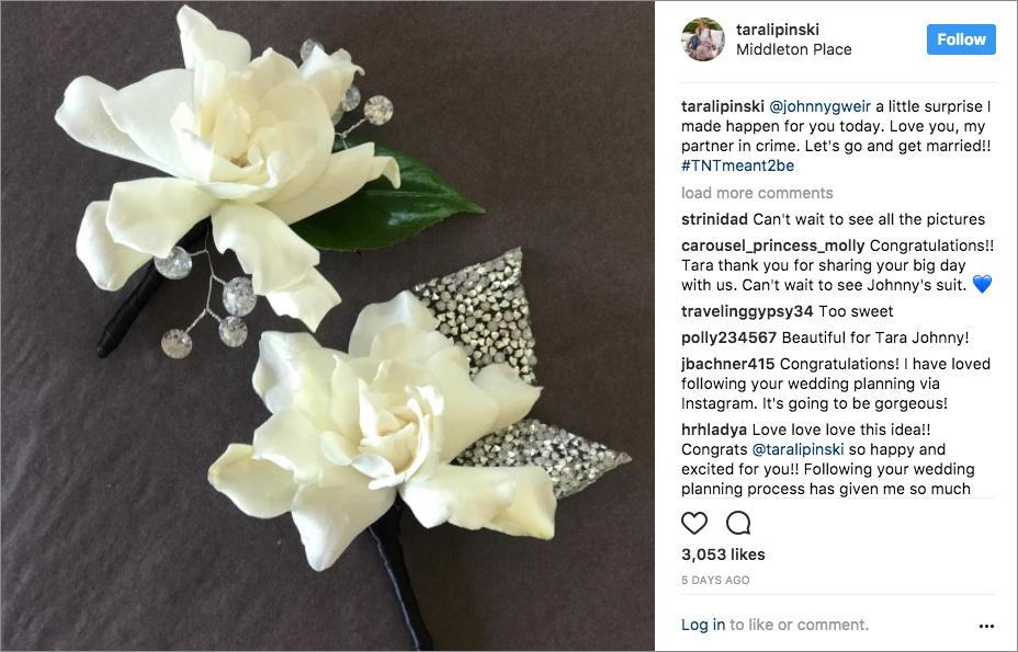 tara lipinski wedding, johnny weir bridesman, crystal boutonniere