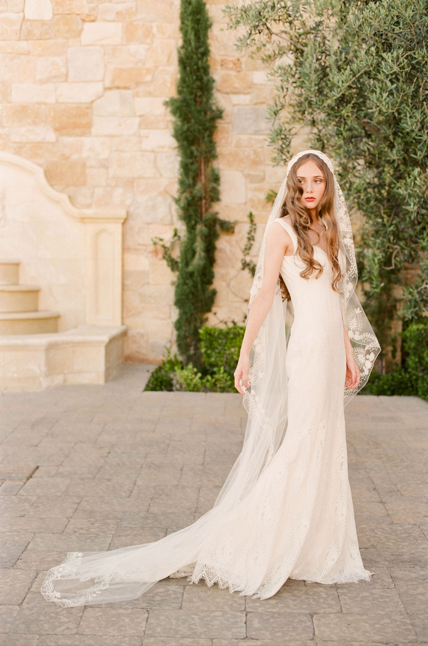 Claire Pettibone Romantique 2018 The Vineyard Collection Toscana sheath lace trim wedding dress and veil