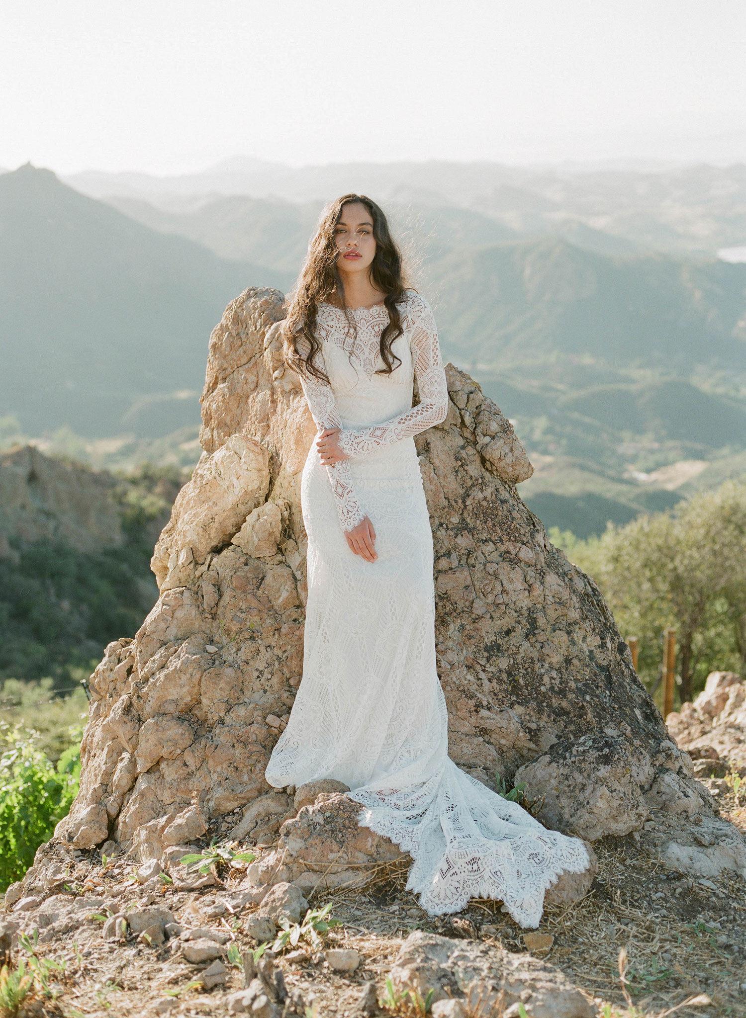 Claire Pettibone Romantique Shenandoah wedding dress 2018 The Vineyard Collection long sleeve high neck