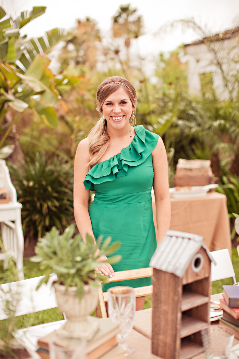 bridal shower outfit, green dress with ruffle one shoulder