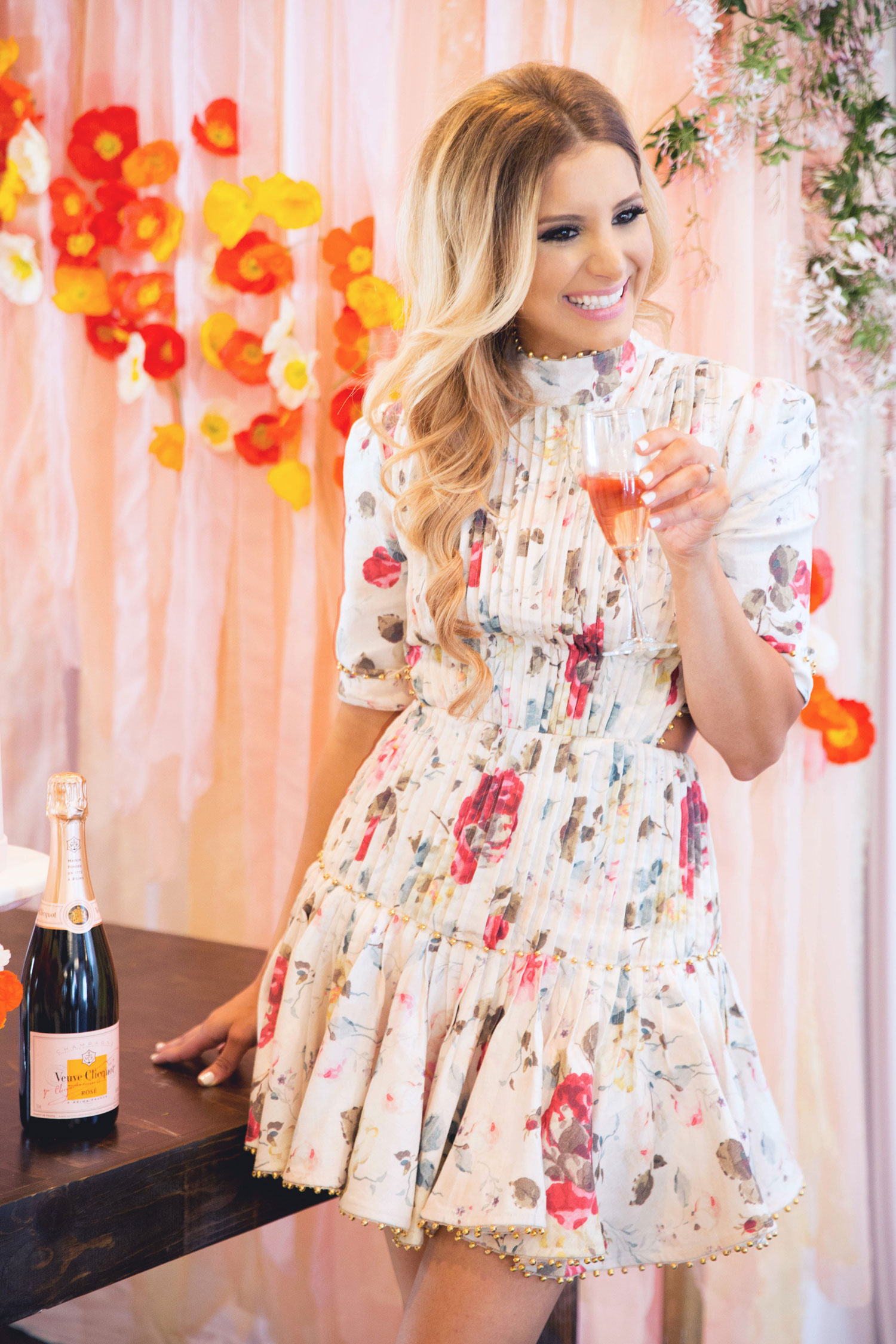 bridal shower outfit, pleated floral dress