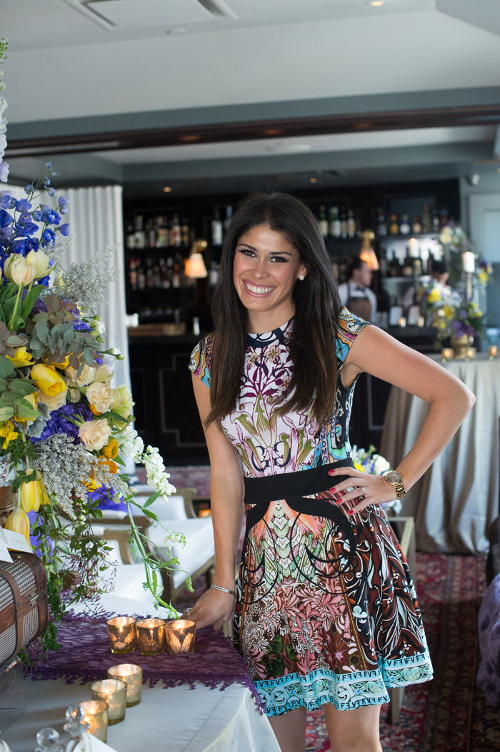 bridal shower outfit inspiration, bright print minidress